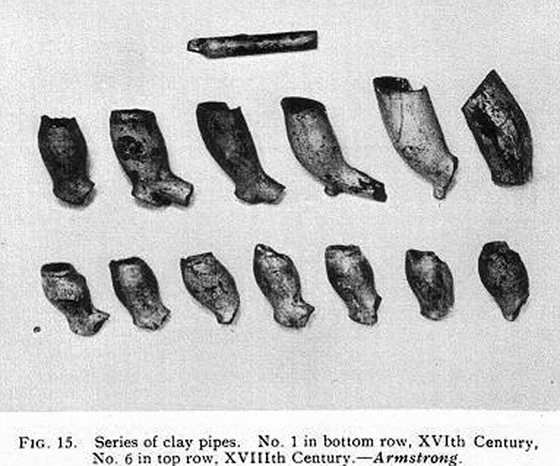 clay pipes from the 1927 excavation