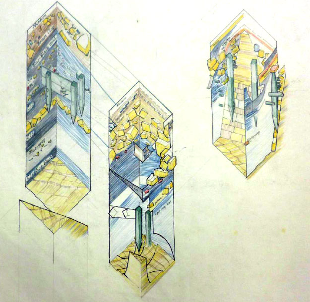 Isometric colour cut-away drawings of moat deposits, by Leslie Butcher, c.1961